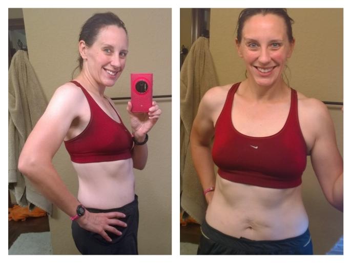 Flexed abs, but not sucked in. Progress!