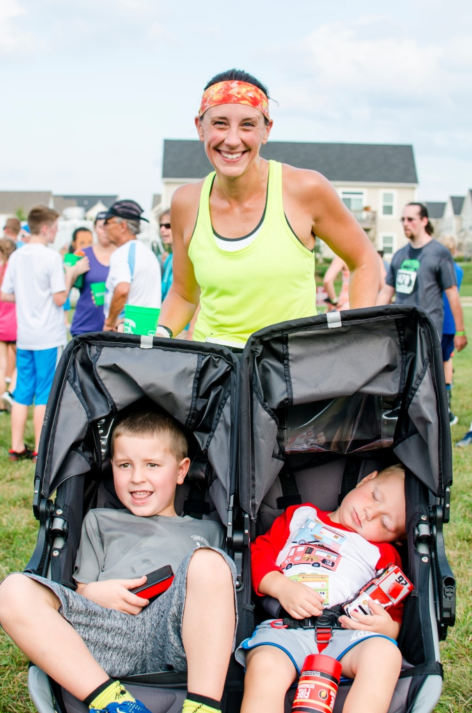 Courtney Donaldson, 40, Bryson Donaldson, 5, and Matthew Donaldson, 3, right after completing their run at the 2016 Food Truck 5K